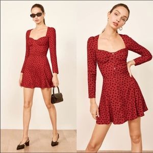Red floral reformation mini dress